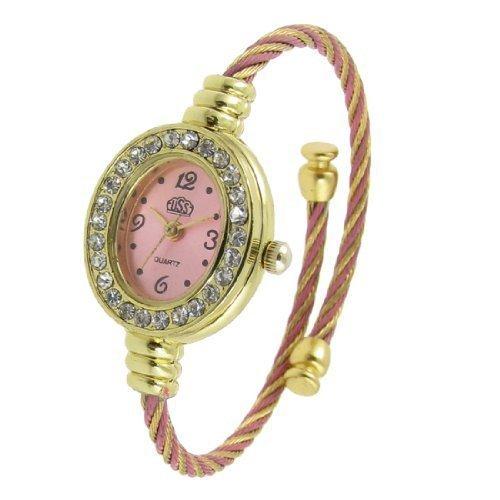 sourcingmap Frau Strass Dekor Hellrosa Oval Vorwahlknopf Quarz Armband Armbanduhr de