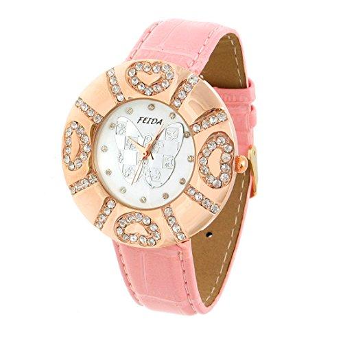 sourcingmap Damen Kristall Rosa Quarz Armbanduhr Schmetterling Damenuhr de