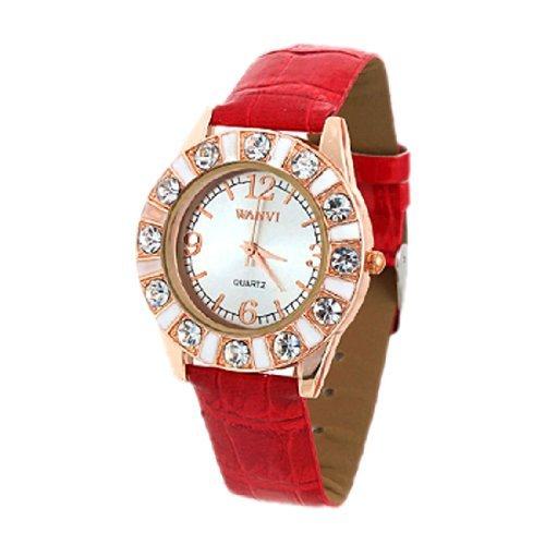 sourcingmap Rot Kunstlederband simulierten Kristall Uhr Damenuhr Maedchenuhr de