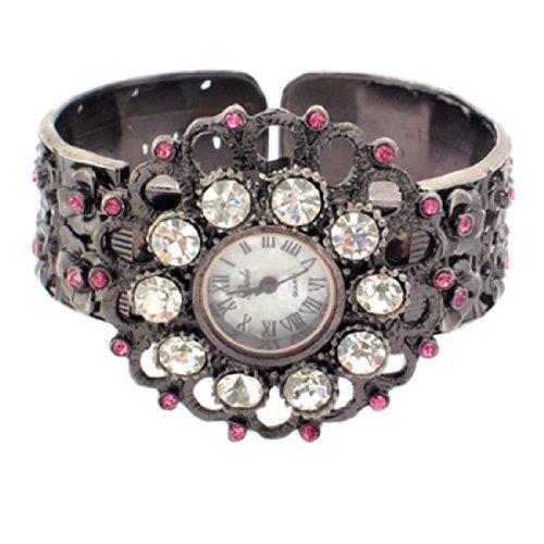 sourcingmap Loeschen Retro Pink Armbanduhr Uhr Kristall Sonnenblume Form de