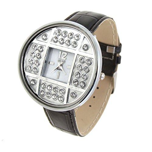 sourcingmap Modeschmuck silbernen Armbanduhren Schwarz Strass Damen Uhr de