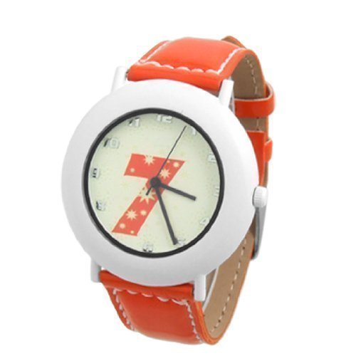sourcingmap Orange Kunstleder Band Damen Fluorescent Anaglog Uhr de