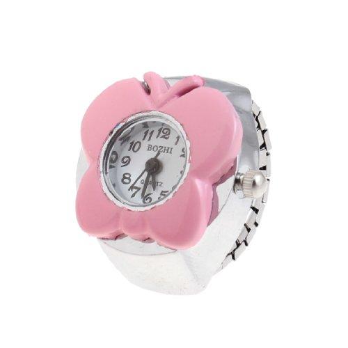 sourcingmap Rosa Schmetterling Gehaeuse arabische Zahl runden Zifferblatt Finger Ring Uhr de