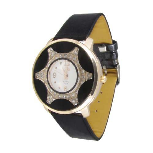 sourcingmap Frauen schwarz gelocht Band Taste Einstellbare Goldton Rim Dekor Armbanduhr de