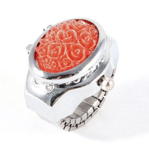 sourcingmap Damen Silber Ton Stretch Band Edelstahl Rot Blume Geformt Kasten Ring Uhr de