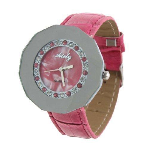sourcingmap Rund Zifferblatt Rosa einstellbare Kunstlederband Quarz Uhr de