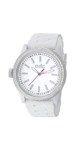 Esprit EE100922001 edc Damenuhr rubber starlet pure white, silver weiss Silikon 30m Analog Uhr