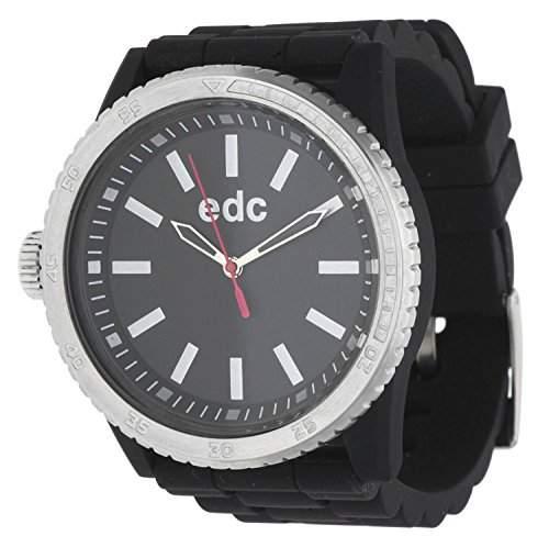 Esprit EE100922002 edc Damenuhr rubber starlet midnight black, silver schwarz Silikon 30m Analog Uhr