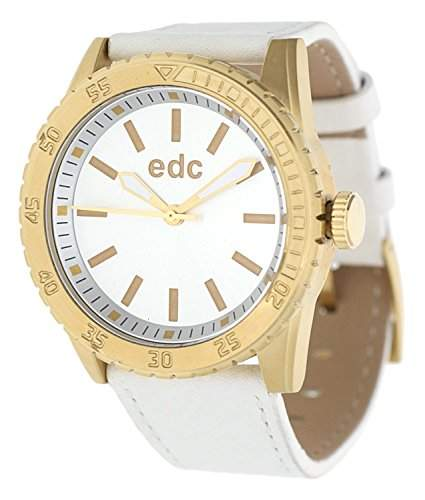 Esprit Edc CHAMPION STAR - PURE WHITE GOLD Damenuhr Edelstahl Gold Lederband Weiss Analog EE101272004