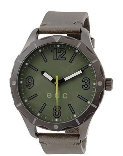 Esprit Edc BEYOND ORDINARY - GREEN MILITARY Herrenuhr Edelstahl Anthrazit Lederband Gruen Analog EE101301002
