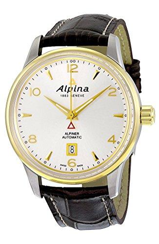 Alpina Alpiner Automatic Gold tone Steel Mens Strap Watch Silver Dial Calendar AL 525S4E3