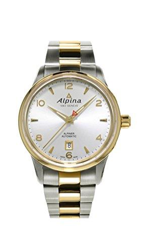 Alpina Alpiner Automatic Steel Gold Tone Mens Watch Silver Dial Calendar AL 525S4E3B
