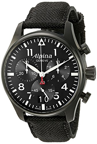 Alpina Herren al 372b4fbs6 Startimer Pilot Chronograph Big Date Analog Display Swiss Quartz Black Watch