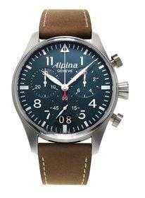 Alpina Alpina Startimer Pilot Chronograph Blau Zifferblatt Brown Leder Mens Watch AL 372N4S6