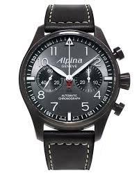 Alpina Alpina Startimer Pilot Chronograph Grau Zifferblatt Leder Mens Watch AL 860GB4FBS6