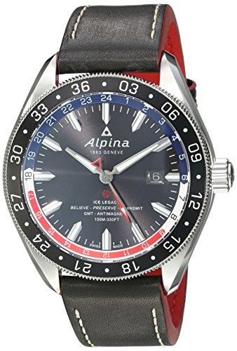 Alpina 4 GMT Business Herren Armbanduhr 44mm Armband Leder Gehaeuse Edelstahl Automatik AL 550GRN5AQ6