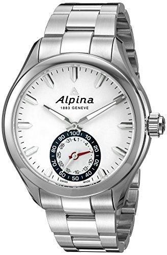 Alpina Herren Hochwertig Smartwatch 44 mm Stahl Armband und Fall Quarz silberfarbenes Zifferblatt Armbanduhr al 285s5aq6b