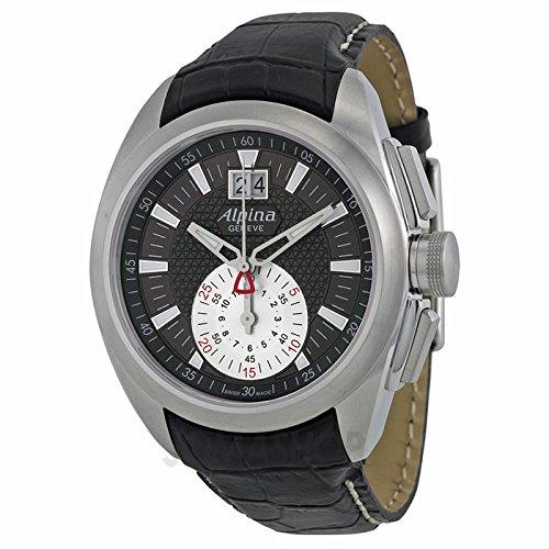 Alpina Alpina Nachtleben Club Chronograph Schwarz Zifferblatt Leder Mens Watch AL353BS4RC6