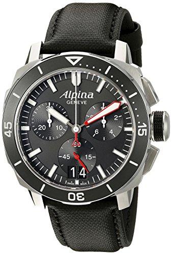 Alpina Herren 44 mm schwarz Kunstleder Band Stahl Fall Armbanduhr Swiss Chronograph Quarz al 372lbg4 V6