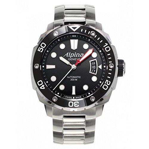 Uhr Alpina Seastrong al 525lb4 V36b Schalter Stahl Quandrante schwarz Armband Stahl
