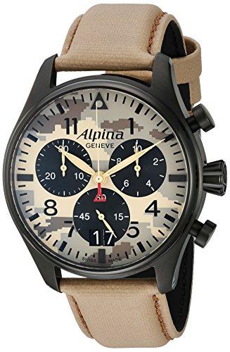 Alpina Startimer Pilot Desert Camouflage Herren Armbanduhr 44mm Armband Leder Batterie AL 372MLY4FBS6