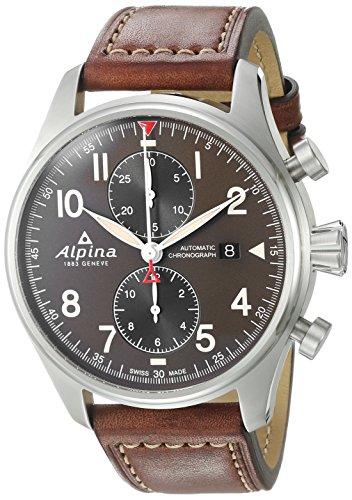 Alpina Startimer Pilot 44mm Armband Leder Braun Gehaeuse Edelstahl Automatik AL 725GR4S6
