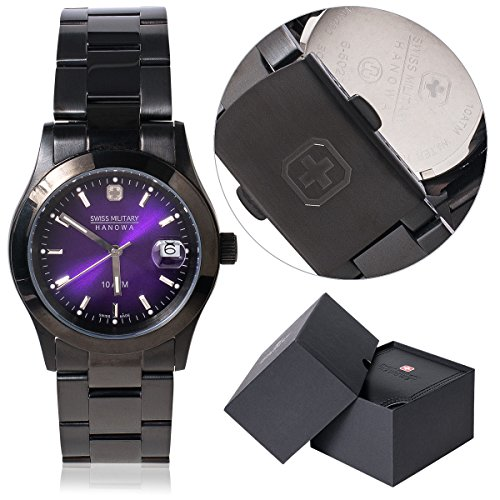 Swiss Milityry Hanowa Armbanduhr Uhr Quarzuhr Damen Edelstahl schwarz violett
