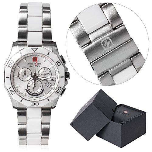 Swiss Milityry Hanowa Armbanduhr Uhr Quarzuhr Herren Edelstahl silber weiss