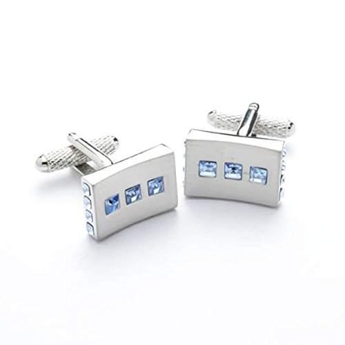 Bernex GB75240-Manschettenknoepfe Swarovski-Kristall Saphir Herrenuhr, rechteckig, mit Geschenkbox