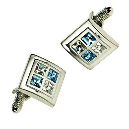 Bernex GB75242 Manschettenknoepfe Rechteckig Mit Swarovski Steinen Light Sapphire Herrenuhr mit Geschenkbox