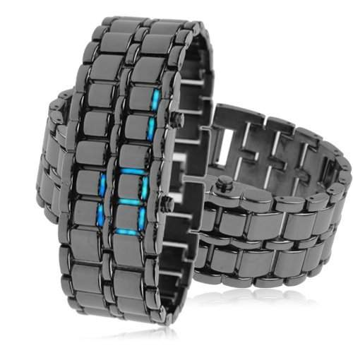 LEDz Blaue LED Schwarz Edelstahl-Armband Herrenuhr LEDG011 Digitale led uhr