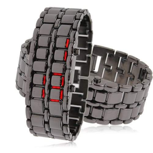 LEDz Rot LED Schwarz Edelstahl-Armband Herrenuhr LEDG012 Digitale led uhr