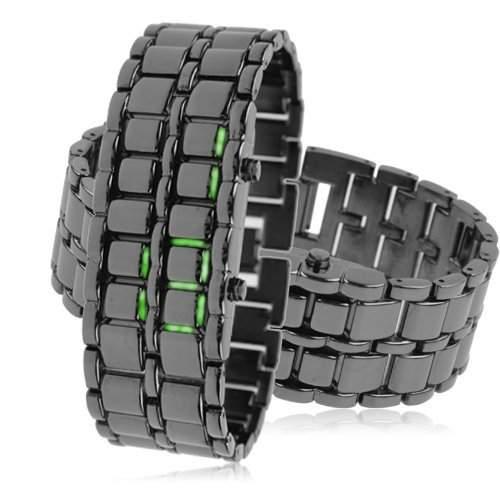 LEDz Vert LED Schwarz Edelstahl-Armband Herrenuhr LEDG013 Digitale led uhr