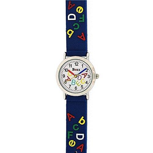 Boxx analoge Alphabet ABC Jungen Uhr mit blauem Band F1545