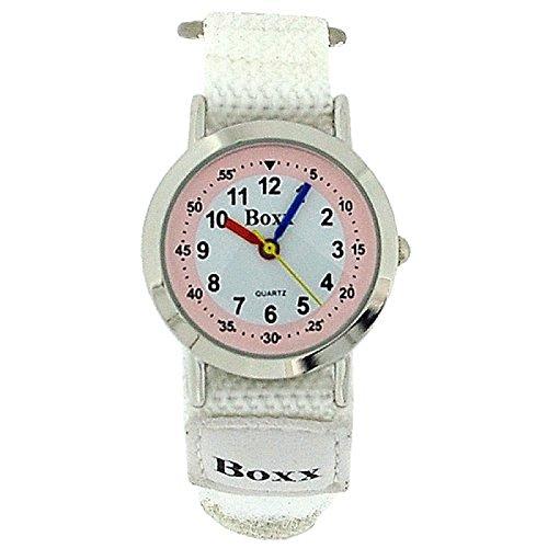 BOXX Anlagoge Kinderarmbanduhr mit Ziffernblatt in rosa weiss und weissem Armband mit Klettverschluss