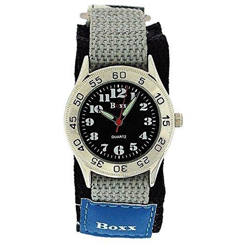 BOXX Blau graue Army Camouflage Kinder Jungen Sportarmbanduhr mit Klettverschluss Armband