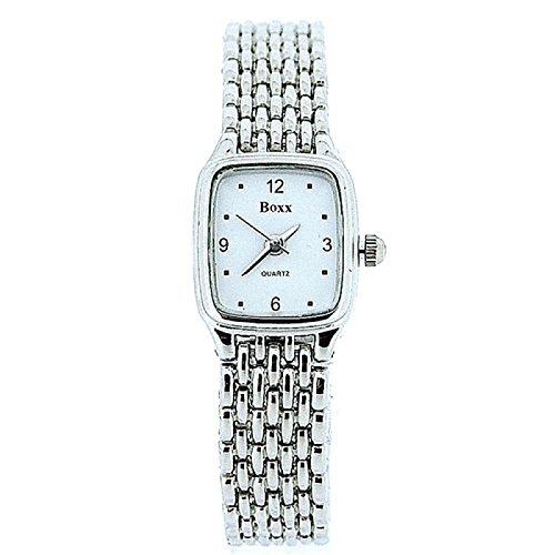 BOXX elegante Damenuhr mit silbernen Maschenarmband