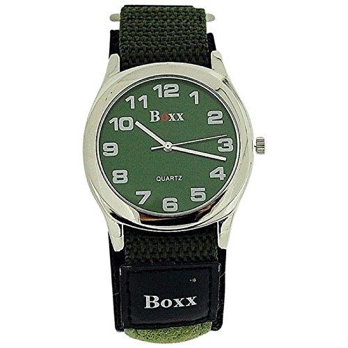 BOXX Herren Khaki Klettverschluss Armband Uhr Khaki Ziffernblatt