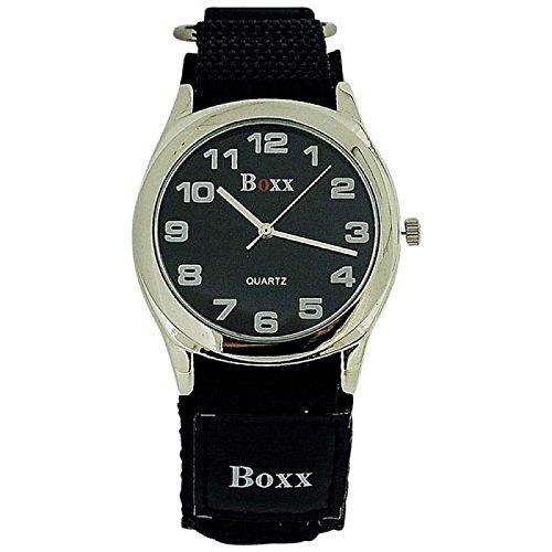 BOXX Herren Schwarze Klettverschluss Armband Uhr