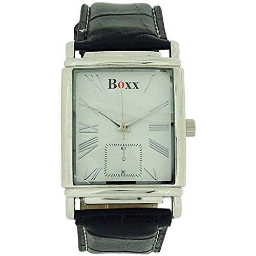 BOXX Herren Uhr weisses Zifferblatt Lederimitatarmband