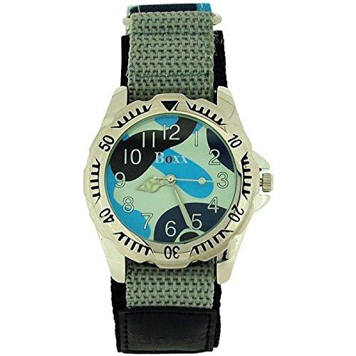 BOXX Jungen Herren graue Armee Camouflage Uhr mit Flechtarmband