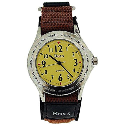 BOXX Herren Braune Klettverschluss Armband Uhr Braunes Ziffernblatt