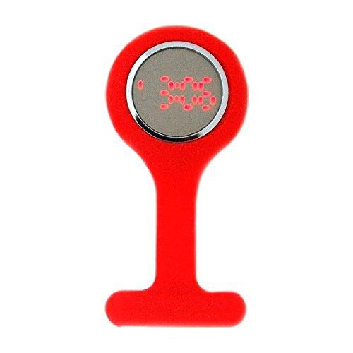 BOXX LED rote Pulsmesser Kautschuk Broschenuhr
