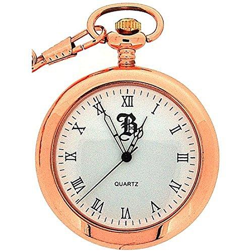 BOXX Rotgoldene Herren Taschenuhr ohne Deckel mit roemischen Ziffern BOXX240