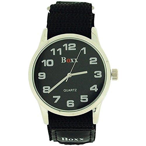 BOXX Herren Schwarze Klettverschluss Armband Uhr Schwarzes Ziffernblatt