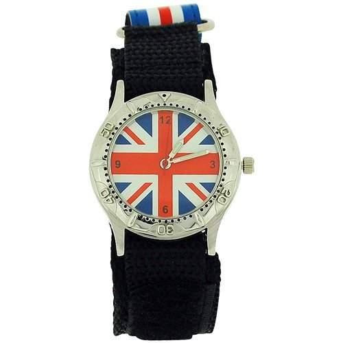 Union Jack Uhr mit Stoffarmband mit Klettverschluss