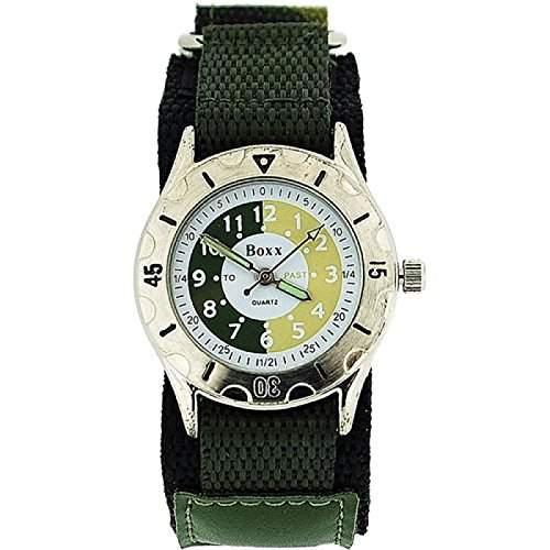 BOXX Zeitlern Sport-Uhr fuer Jungen gruen Camouflage mit Klettverschluss Armband