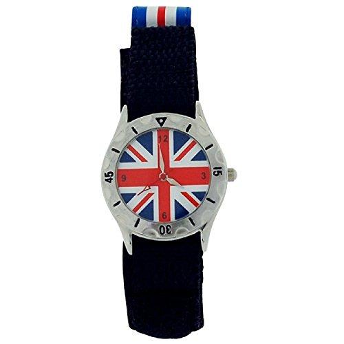 England Union Jack Jungen Uhr mit Stoffarmband mit Klettverschluss phosphoreszierende Zeiger