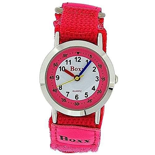 BOXX Anlagoge Kinderuhr fuer Maedchen in pink mit weissem Ziffernblatt und zweifarbigem Armband mit Klettverschluss