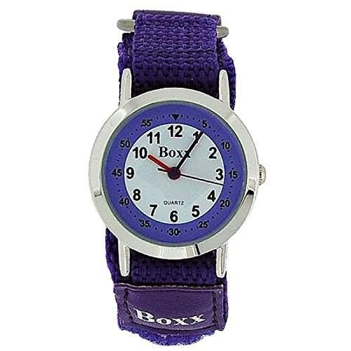 BOXX Analoge Maedchen-Armbanduhr mit lila-weissem Ziffernblatt und zweifarbigem Armband mit Klettverschluss
